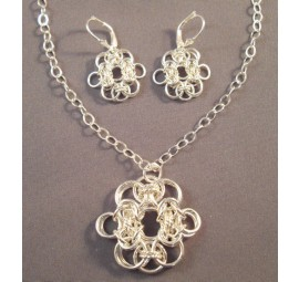 Chain Maille Lace Pendant and Earrings